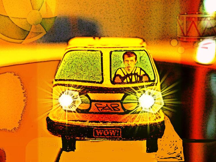 Schwungradmotordeliveryvan, Digitale kunst, Fantasie, Digital,
