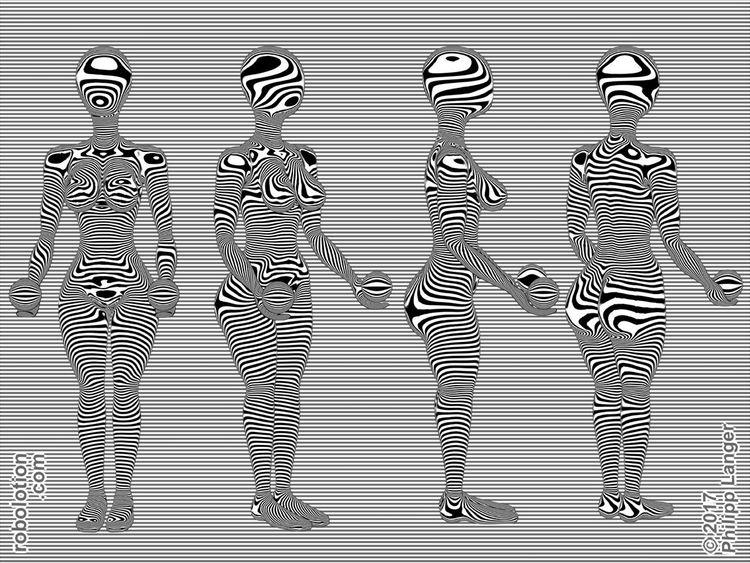 Kurvig, Ballspieler, Zebrastreifen, Frau, Streifen, Kurve