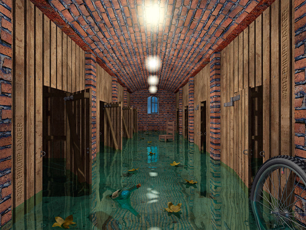 keller unter wasser flooded cellar digitale kunst. Black Bedroom Furniture Sets. Home Design Ideas