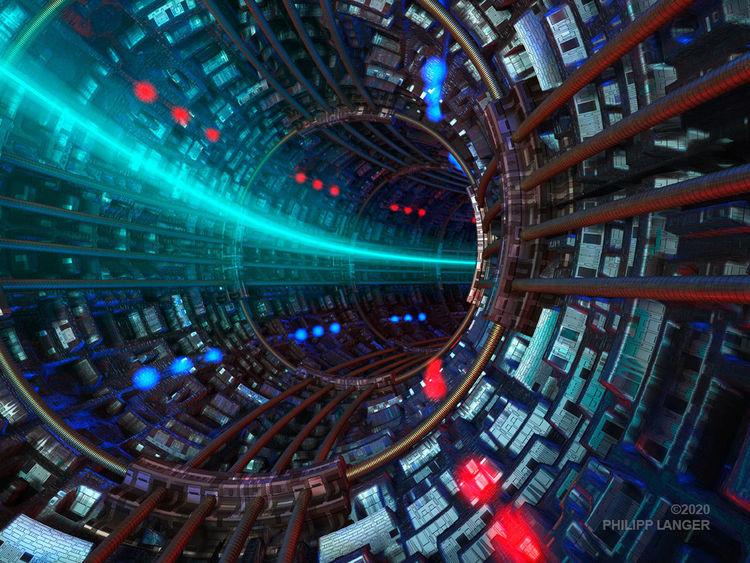 Technik, Teilchenstrahl, Ringförmig, Tief, Innenansicht, Metall