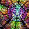 Dodekaedrischer Raum - raum, gitter, metall, lichtpunkt, matrix, fluchtpunkt, perspektive, dreidimensional, zellen, gitterwerk, dodekaeder, körper, platonischer, symmetrie, symmetrisch, geometrie, geometrisch, farben, bunt, vielfarbig, polychromatisch, polichromatisch, polyeder