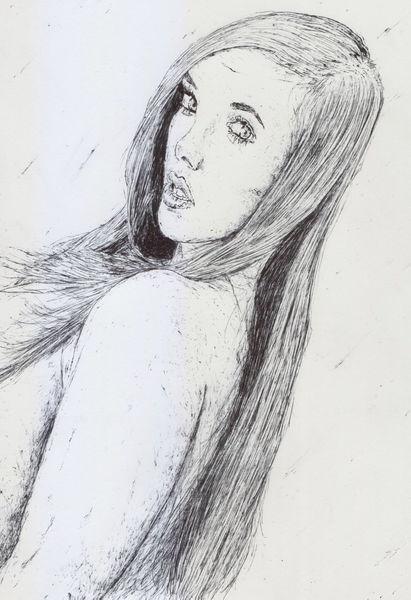 Frau, Model, Reiz, Lange haare, Zeichnungen, Schulter