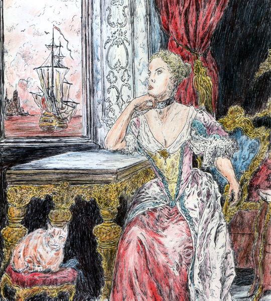 Schiff, Frau, Rokoko, Katze, Melancholie, Sehnsucht