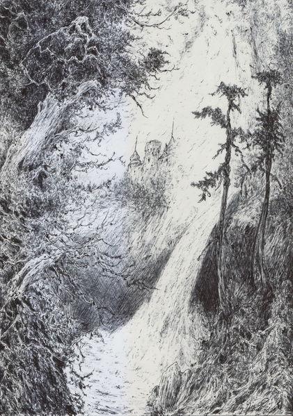 Baum, Schloss, Wald, Burg, Wasserfall, Landschaft
