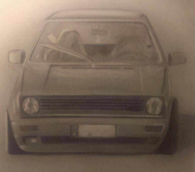 Auto, Portrait, Golf, Zeichnungen