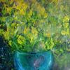 Kontrast, Starker hell, Blaue vase, Gelbe blumen