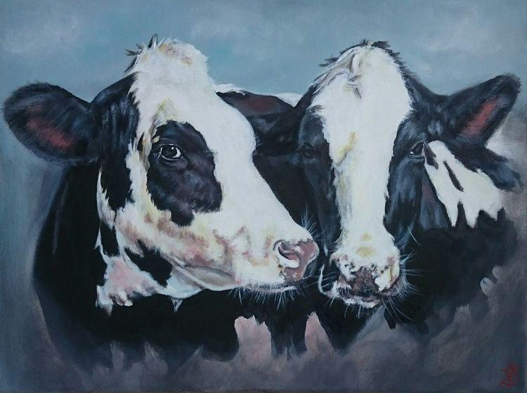 Weiß, Kuh, Milchkuh, Holsteiner, Schwarz, Malerei