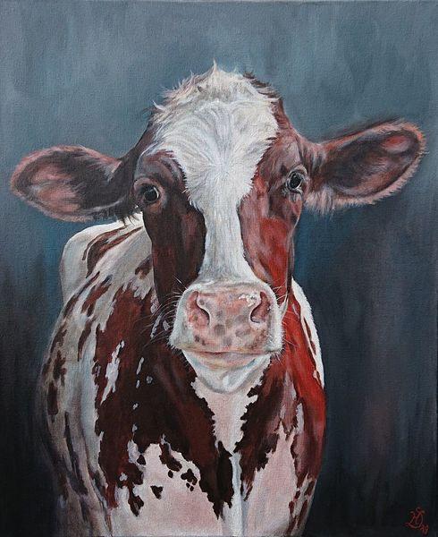 Milchkuh, Kuh, Kuhportrait, Holsteiner, Malerei