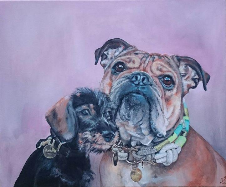 Hund, Bulldogge, Halsband, Rauhaardackel, Dackel, Malerei