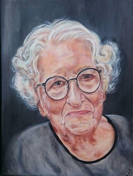 Portrait, Oma, Brille, Frau, Gesicht, Malerei