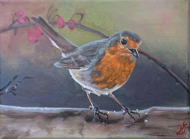 Rotkehlchen, Vogel, Äste, Malerei