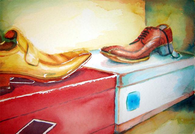 Schuhkarton, Schuhe, Aquarell gegensätze, Karton, Aquarell