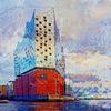 Elbphilharmonie hamburg, Auftragsmalerei hamburg, Schwarz weiß, Dibond