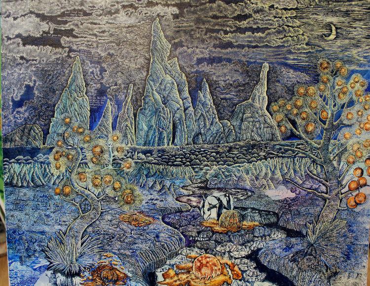Eis, Zugefrorener fluss, Eislandschaft, Winter, Nacht, Surreal