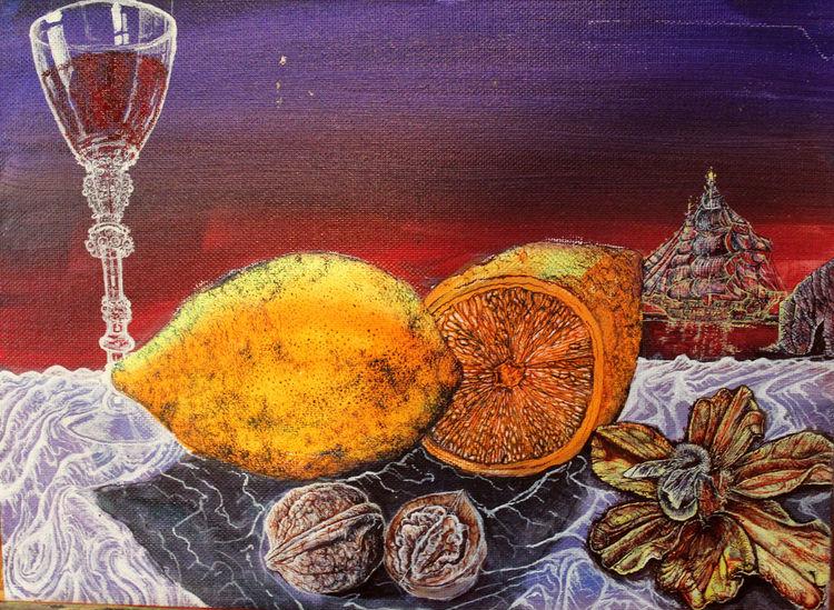 Stillleben, Zitrone, Segelschiff, Malerei