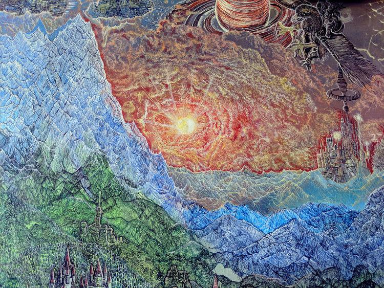 Fantastische malerei, Gebirgskette, Sonnenuntergang, Alpen, Albrecht altdörfer, Saturn