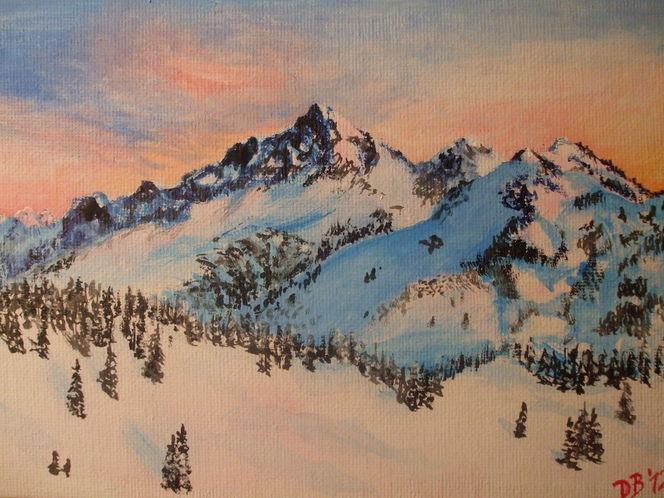 Schnee, Morgen, Natur, Blau, Berge, Abend