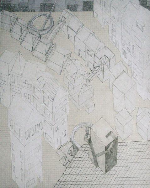 Gebäude, Vordergrund, Mittelgrund, Zeichnungen, Abgrund,