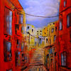 Acrylmalerei, Frankreich, Stadtansicht, Malerei