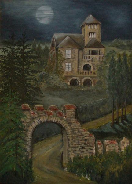 Villa, Burg, Romantik, Landschaft, Acrylmalerei, Malerei