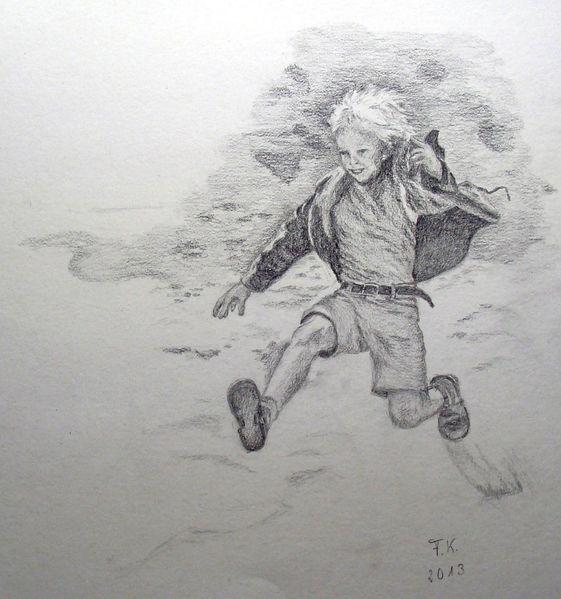 Ferien, Junge, Zeichnung, Bleistiftzeichnung, Sprung, Bewegung