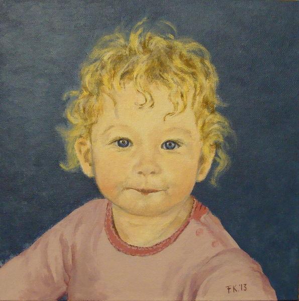 Portrait, Mädchen, Baby, Acrylmalerei, Malerei