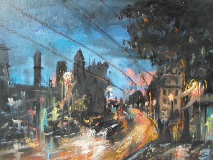 Blau, Auto, Nacht, Romantik, Straße, Malerei