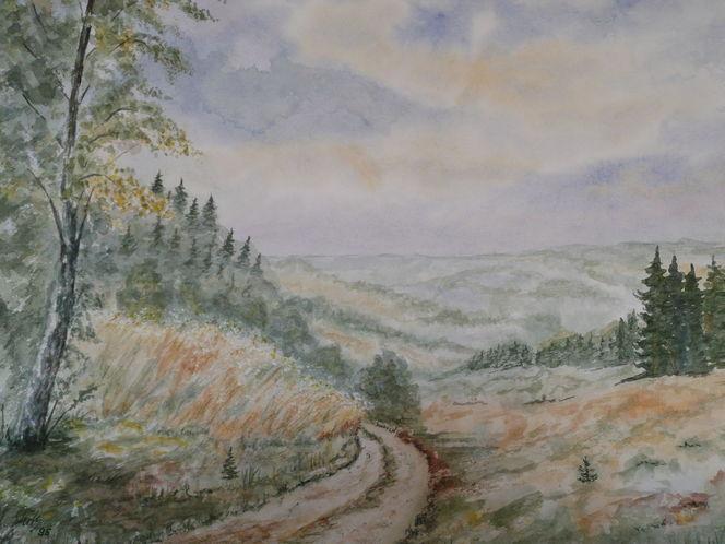 Aquarellmalerei, Aquarell, Blick, Tal