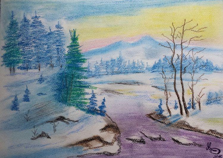 Winterlandschaft, Aquarell, 2015