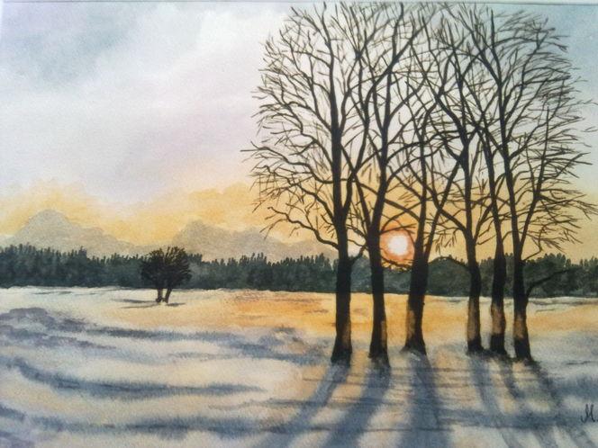 Landschaft, Aquarell, Wintermorgen