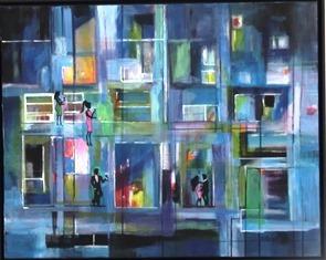 Einblick, Illusion, Fenster, Häuser, Blau, Menschen
