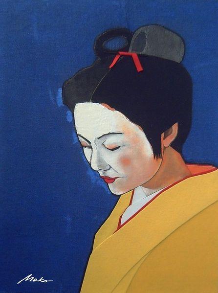 Ukiyo, Portrait, Japan, Collage, Geisha, Mischtechnik