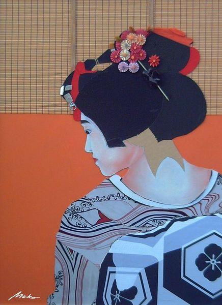 Japan, Portrait collage ukiyo, Geisha, Mischtechnik, Western, Ukiyo