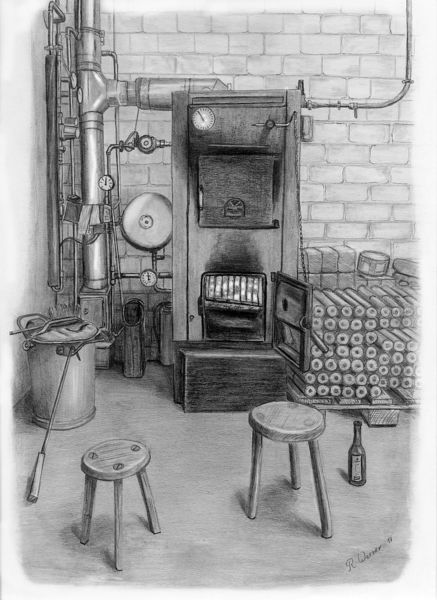 Heizungsanlage, Stillleben, Bleistiftzeichnung, Zeichnungen