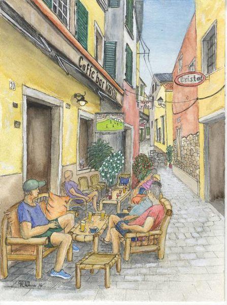Rovinj, Cafe, Urban sketching, Altstadt, Kroatien, Zeichnungen
