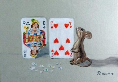 Maus, Spielkarten, Malerei, Dame