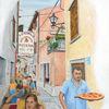 Urban sketching, Romantik, Gaststätte, Kroatien