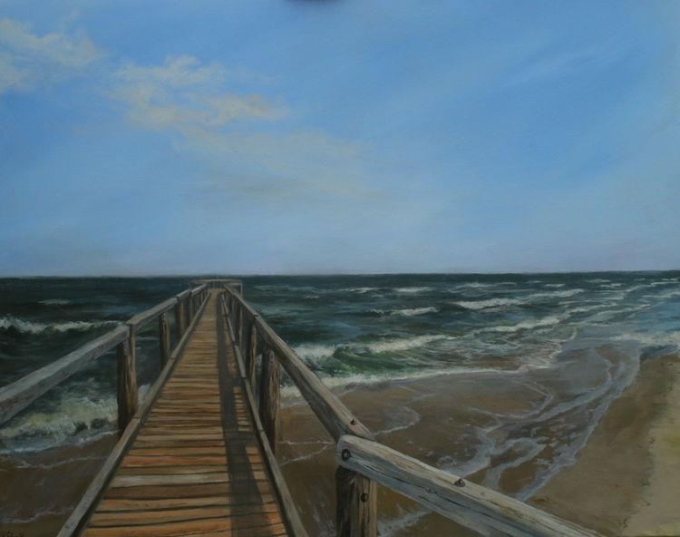 Landschaft, Meer, Welle, Malerei, Holz, Acrylmalerei