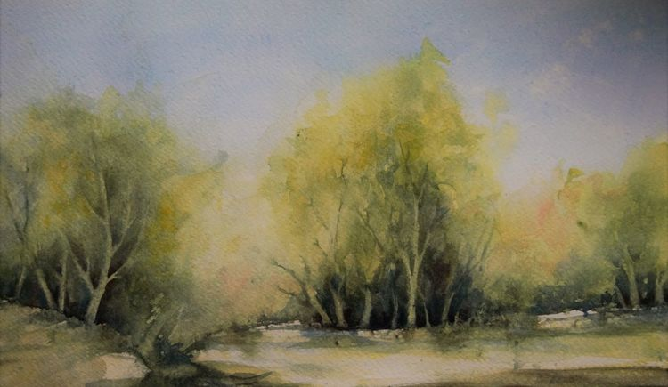 Grün, Baum, Frühling, Aquarellmalerei, Negativtechnik, Malerei