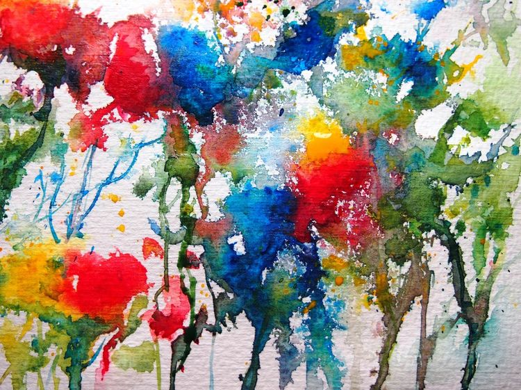 Kontrast, Blumen, Leuchten, Farben, Blüte, Aquarell
