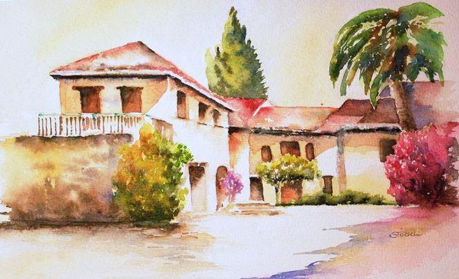 Hacienda, Spanien, Urlaub, Sonne, Landgut, Aquarell