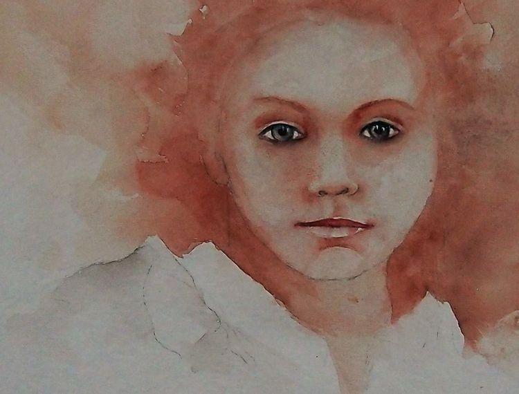 Aquarellmalerei, Portrait, Gemälde, Mädchen, Malerei, Scheu