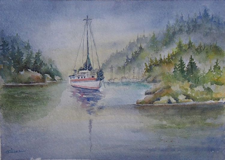 Kanada, Landschaft, Aquarellmalerei, Schiff, Passage, Aquarell