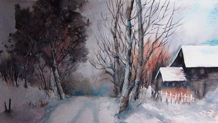 Winter, Schnee, Landschaft, Aquarellmalerei, Aquarell, Wintertag