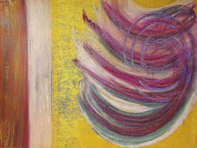 Pastellmalerei, Abstrakt, Braun, Gelb, Malerei