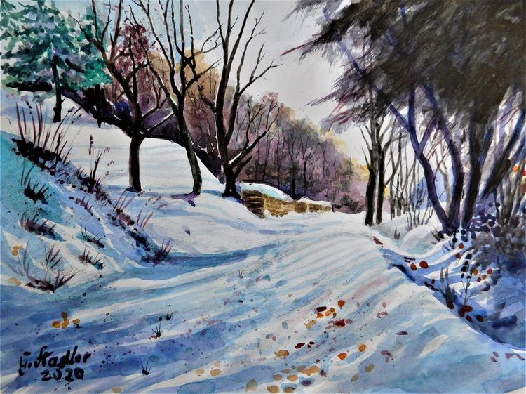 Spuren kälte, Bunt, Landschaft, Mudau, Natur, Schnee