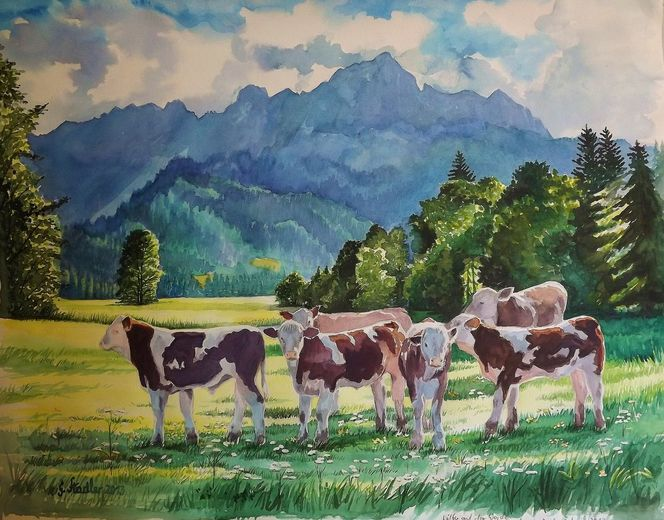 Bergmalerei, See, Tieraquarell, Tal, Malerei, Österreich