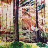 Bunt, Aquarellmalerei, Herbst, Wald