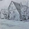 Verfall, Odenwald, Zeichnung, Altes bauernhaus