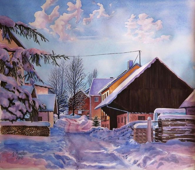 Dorf, Farben, Licht, Aquarellmalerei, Odenwald, Variation